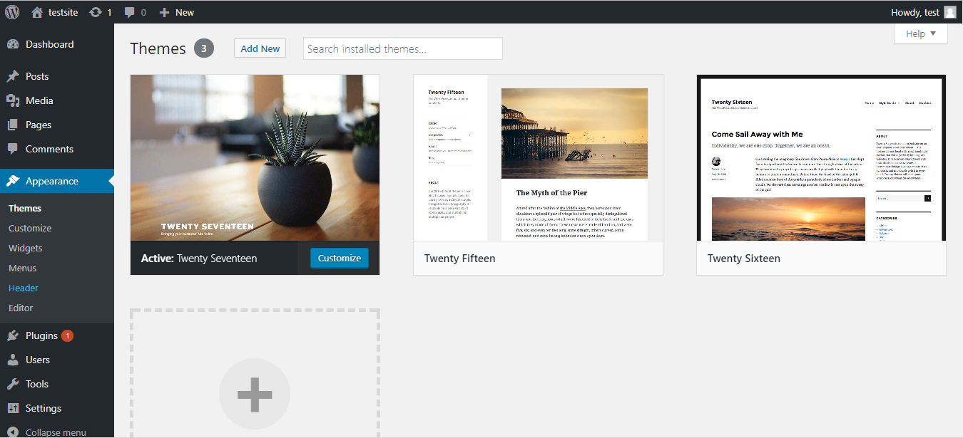 WordPress add new themes page