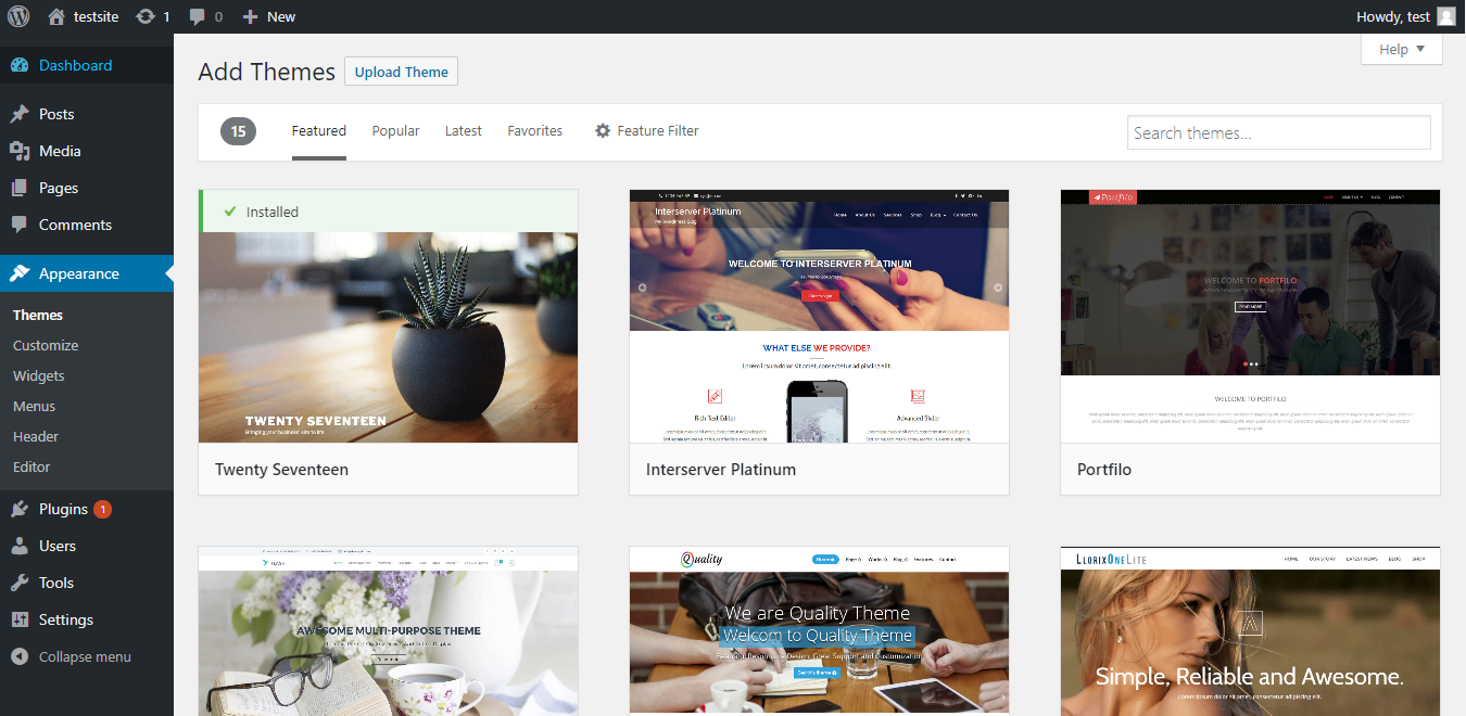 Wordpress add themes page