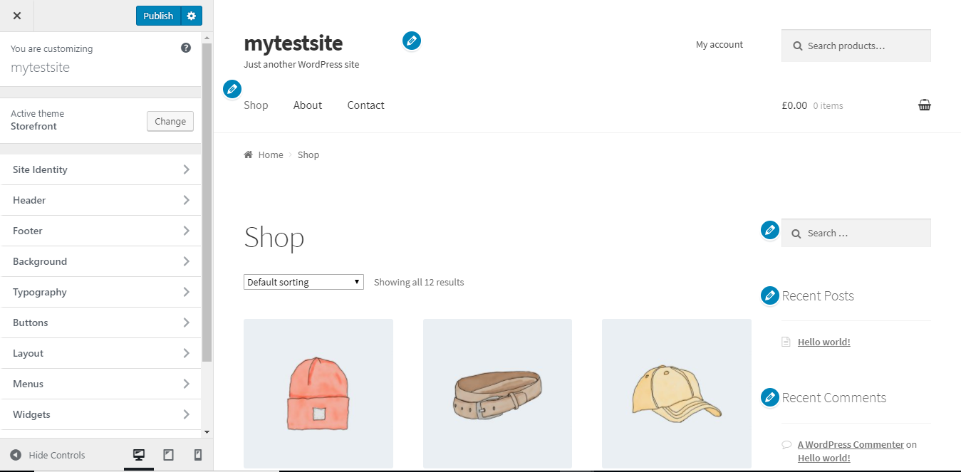 Customize Storefront theme