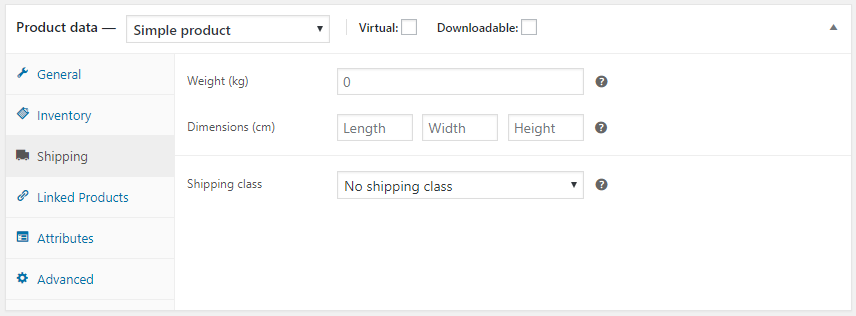 WooCommerce shipping product data