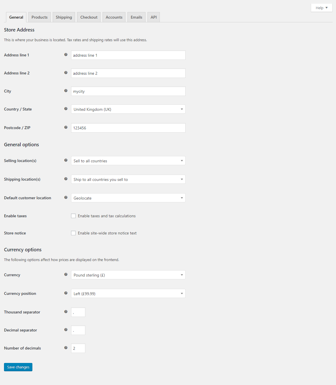 Woocommerce general settings tab