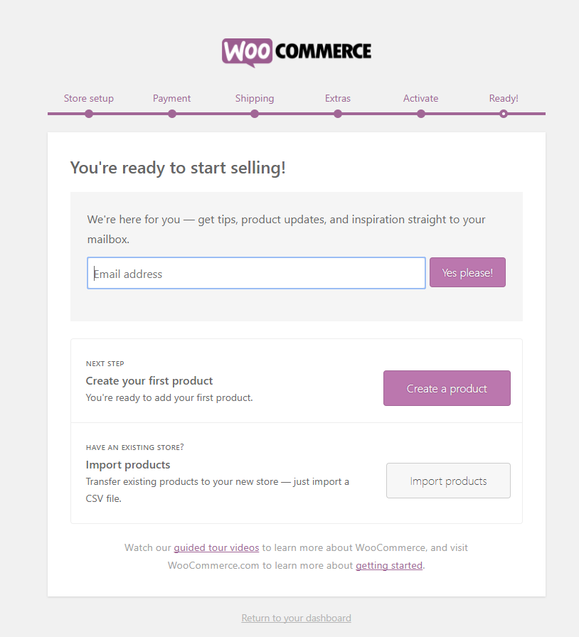 WooCommerce wizard setup ready