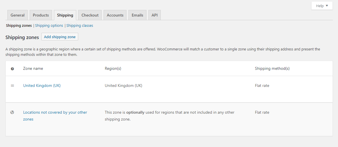 WooCommerce shipping settings tab