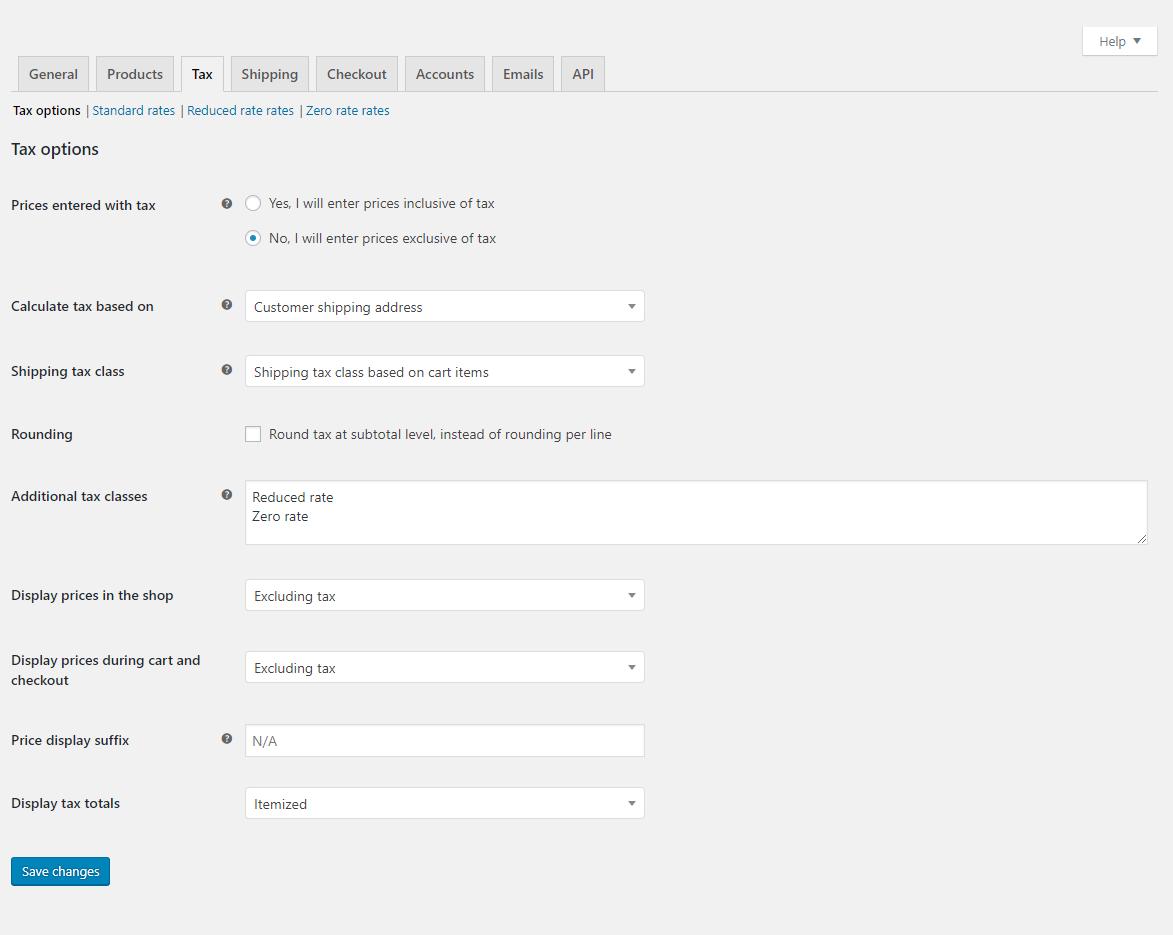 Woocommerce tax settings tab