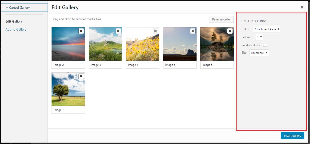 Gallery settings in Edit Gallery window