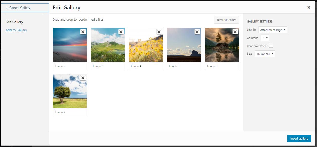 WordPress Edit Gallery window