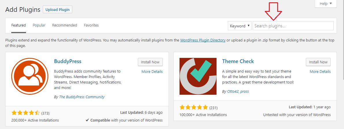 Search plugin in WordPress directory