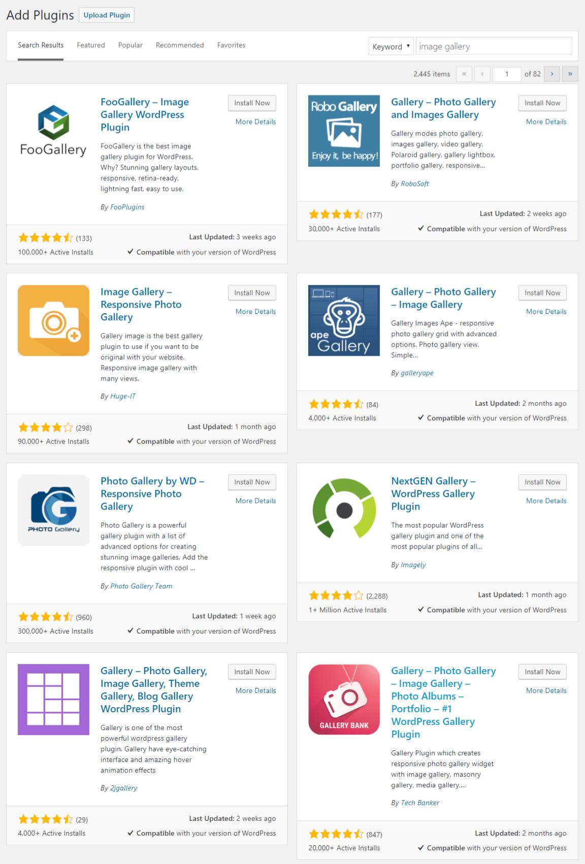 WordPress plugin directory search results