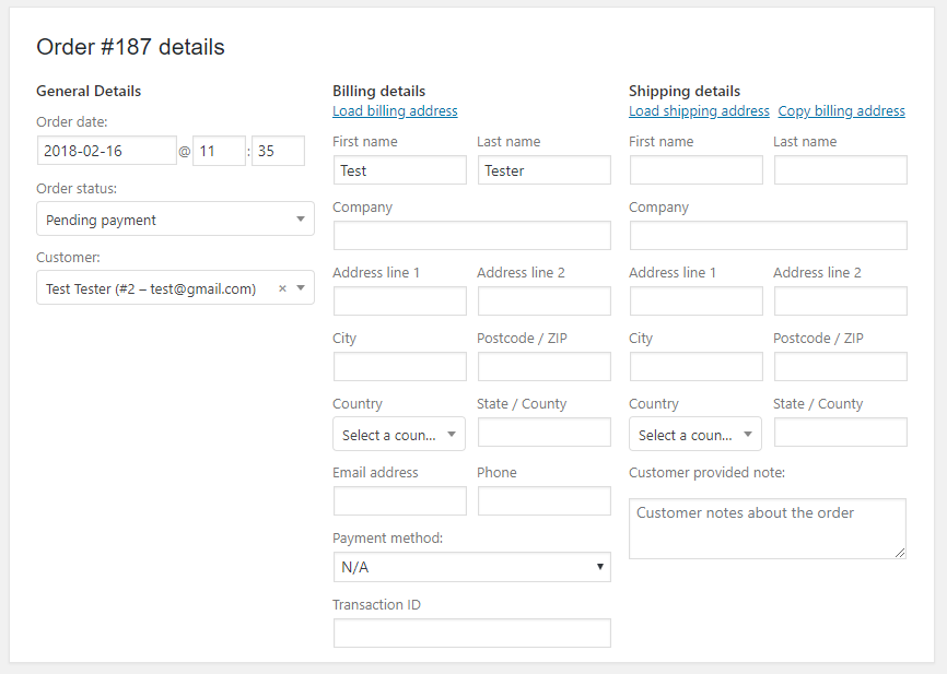 Add billing and shipping address of the order