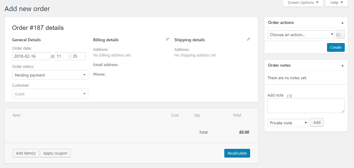 WooCommerce add new order page