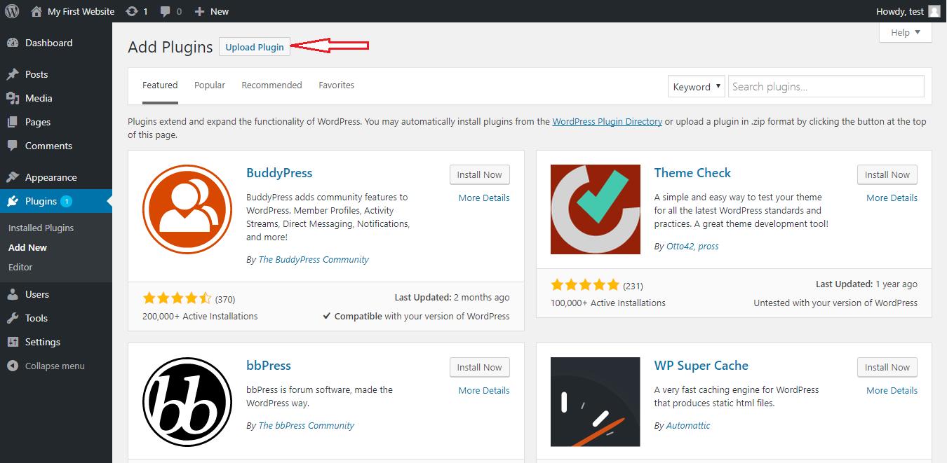 Upload plugin from WordPress Add Plugin page