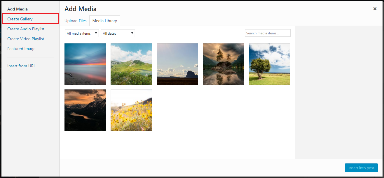 WordPress media library create gallery