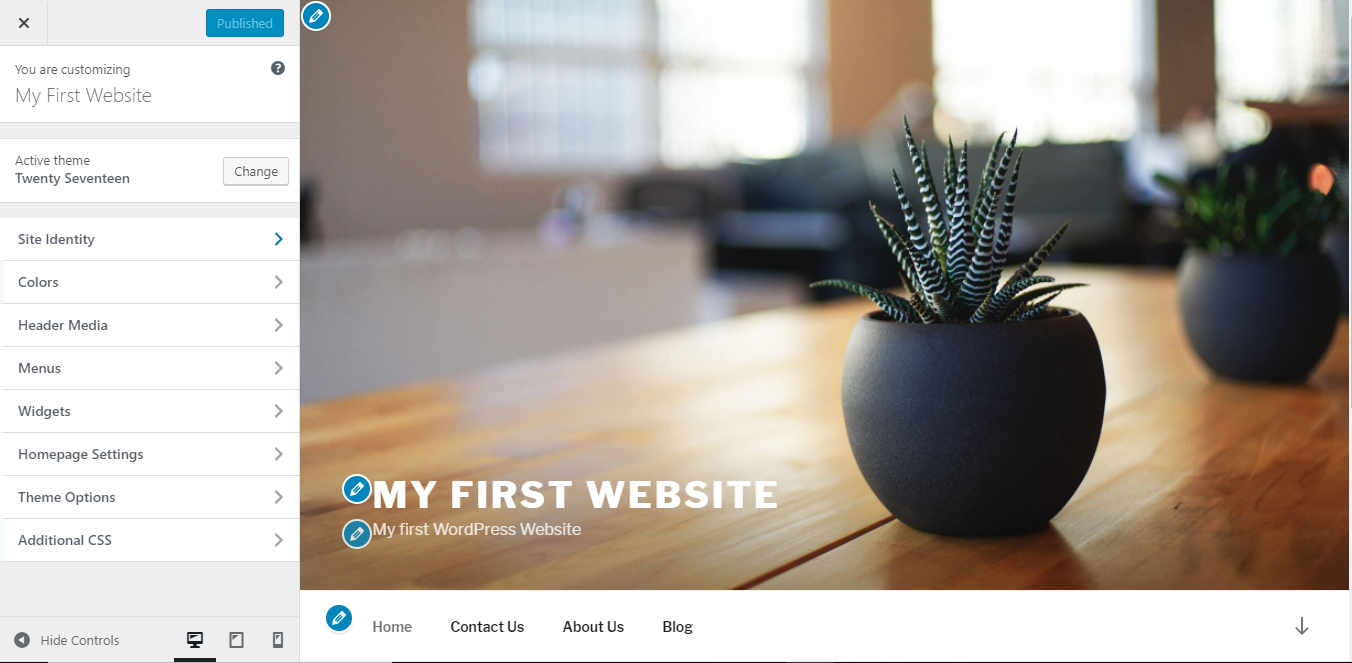 WordPress customize theme page