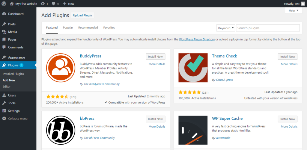 WordPress add plugins page