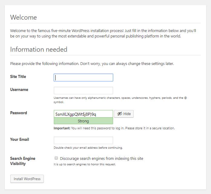 WordPress setup information needed