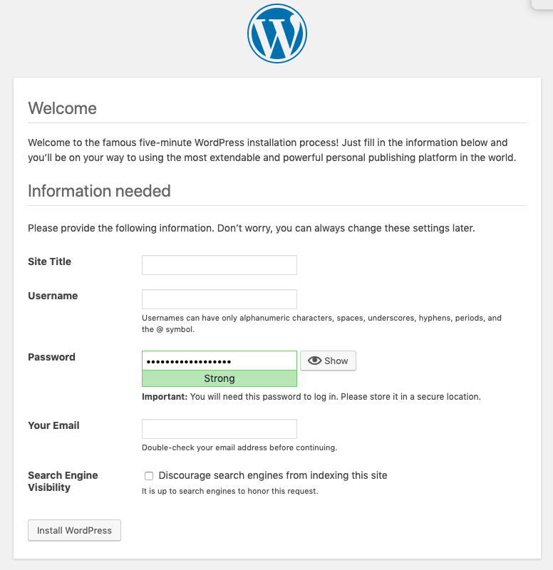 WordPress installation information needed