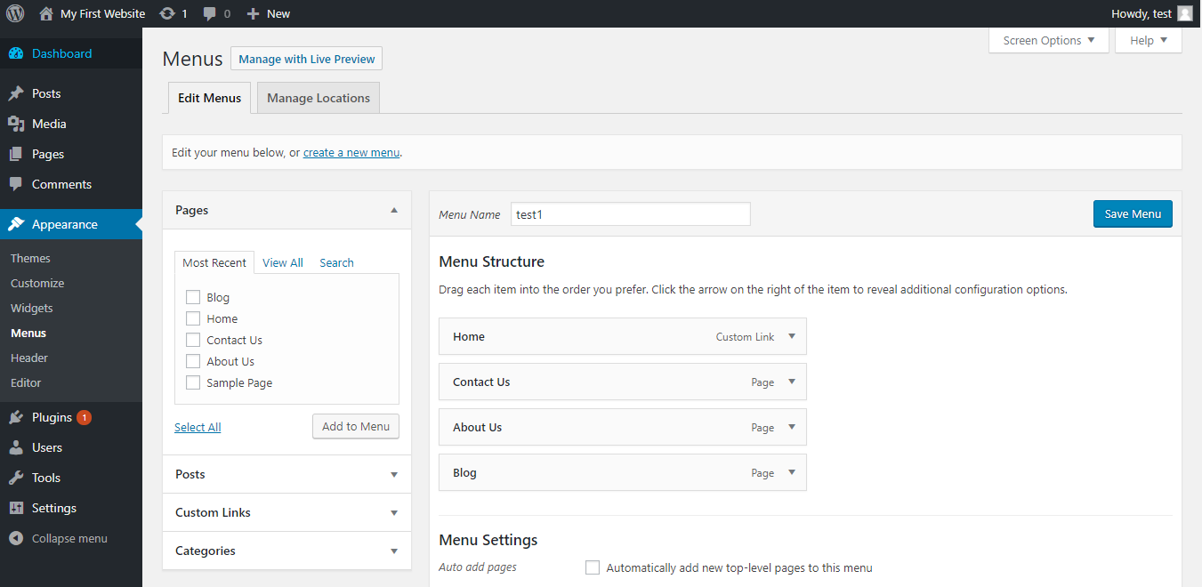 WordPress Menu page