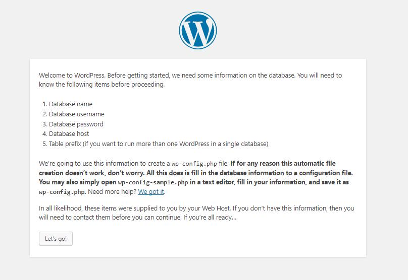 WordPress set up instructions