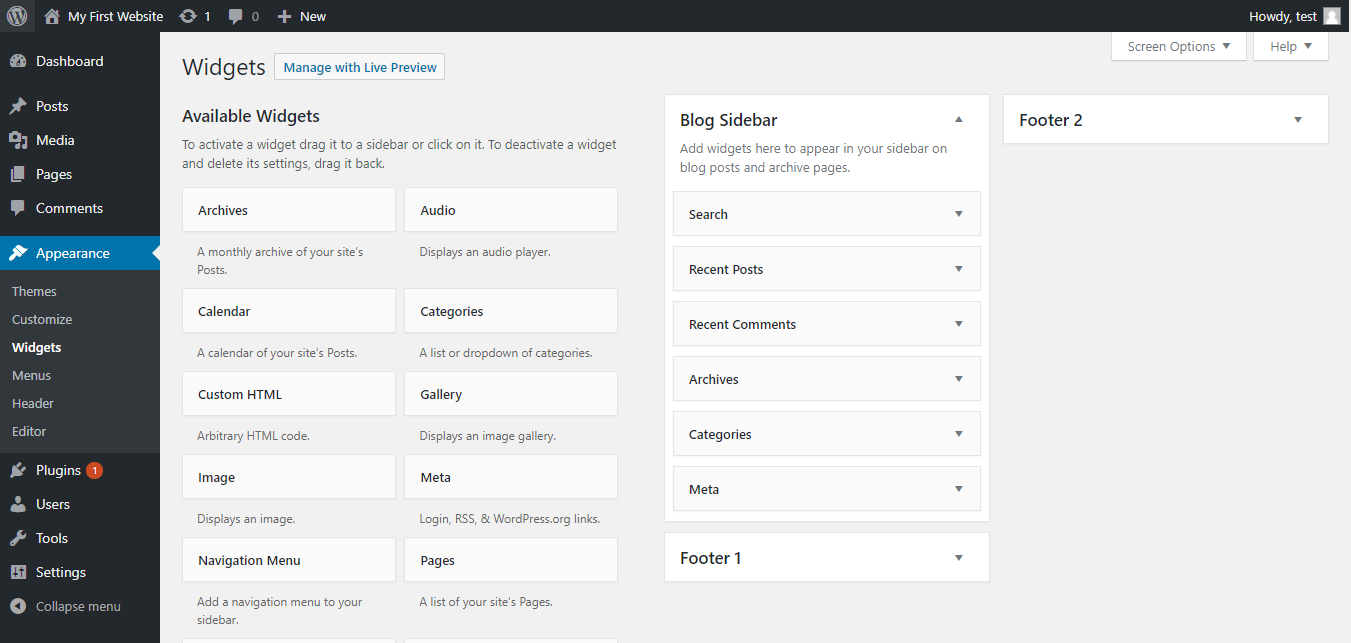 WordPress widgets page