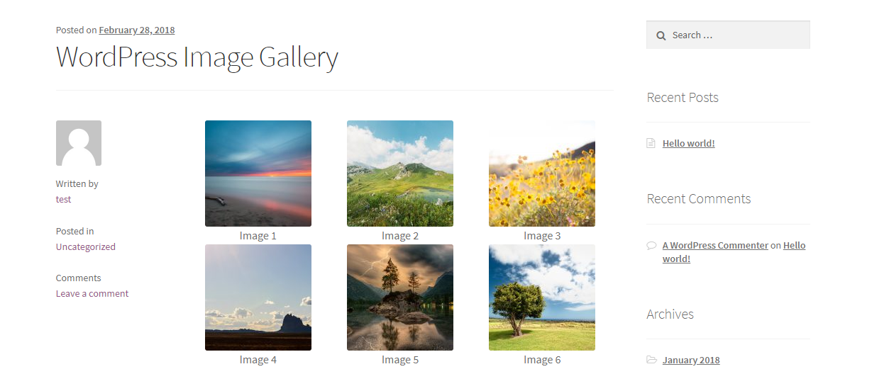 WordPress built-in image gallery