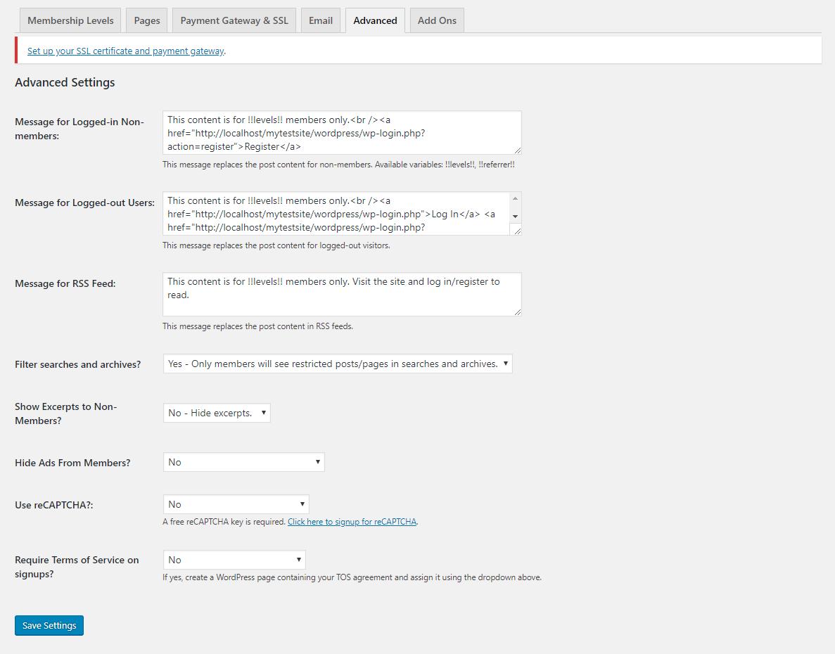 Paid Membership Pro advanced settings