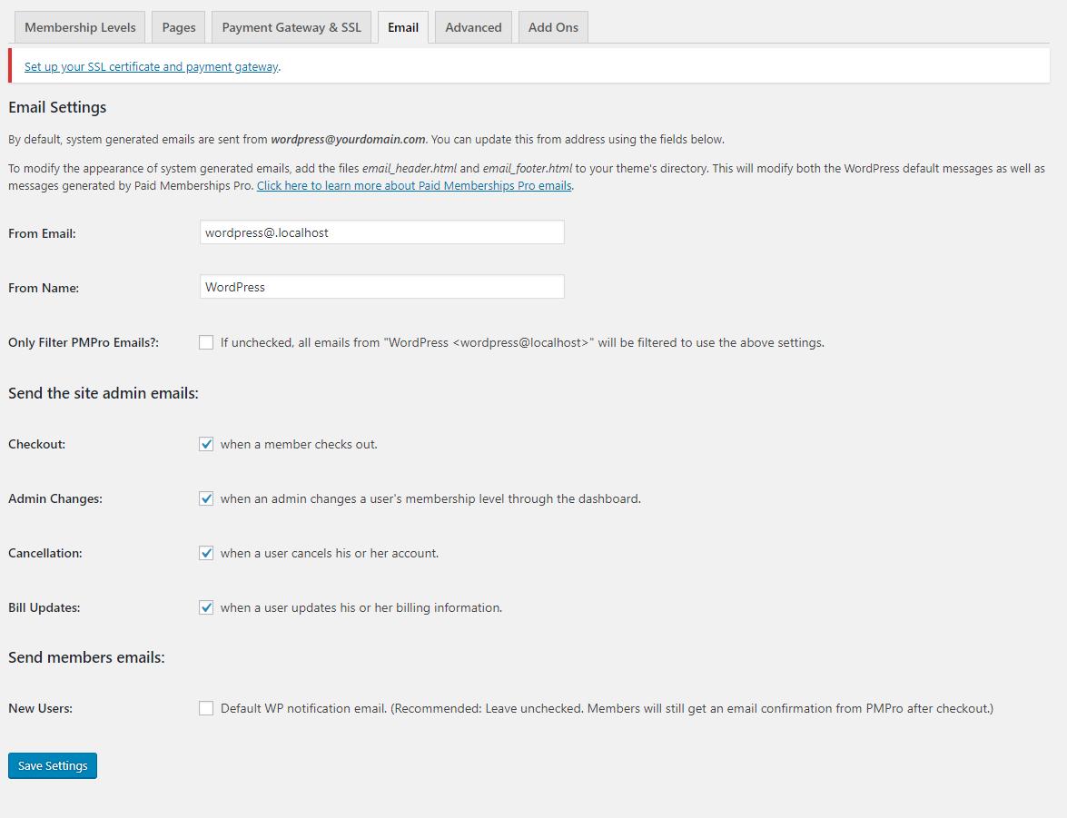 Paid Membership Pro email settings