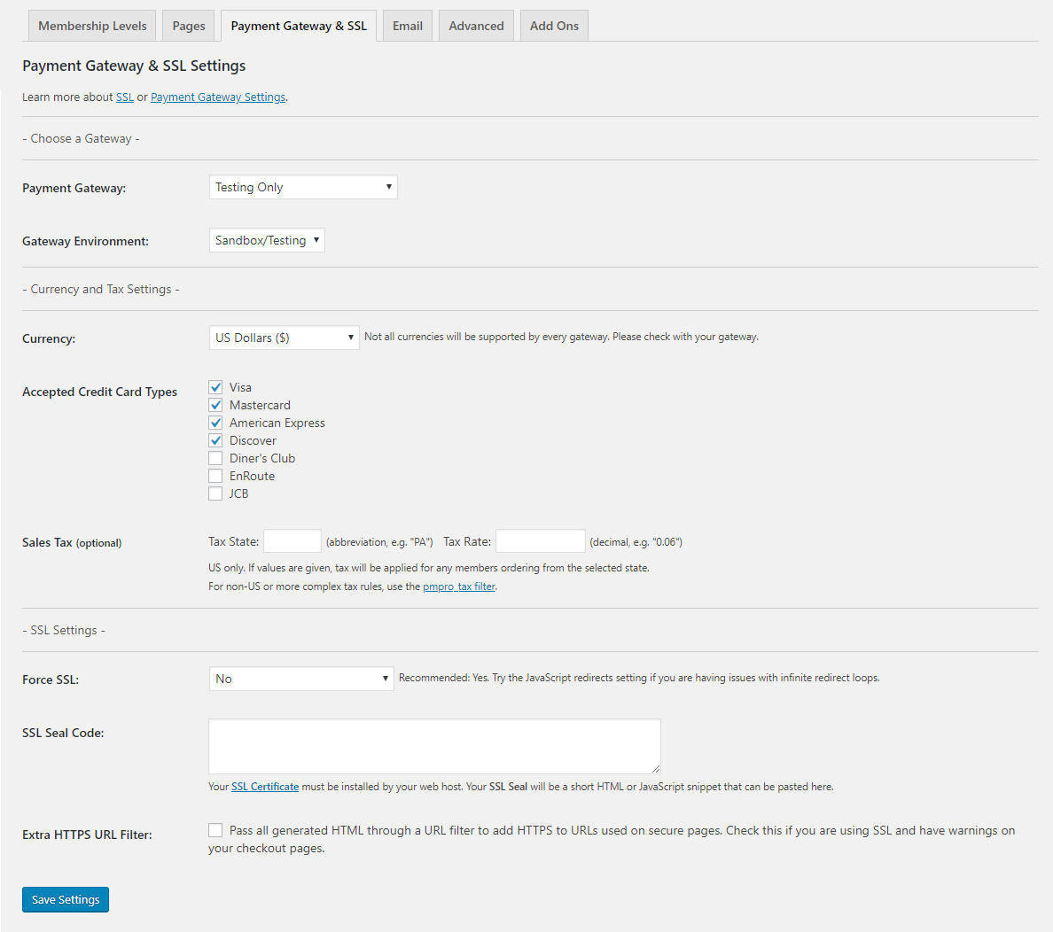 Payment gateway and SSL settings