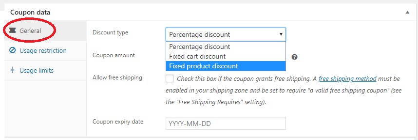 general settings for coupon