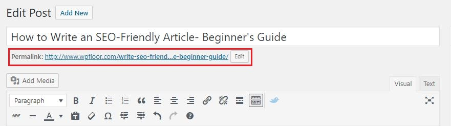 editing URL in wordpress for SEO-friendly URLs