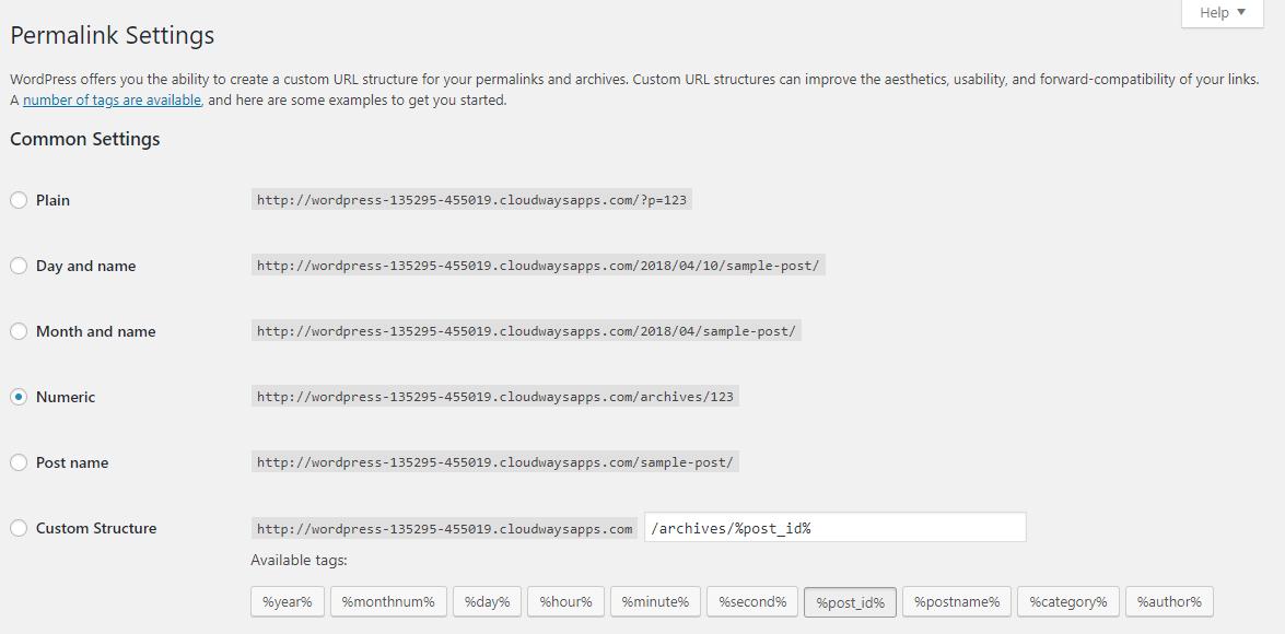 permalink settings for customizing url