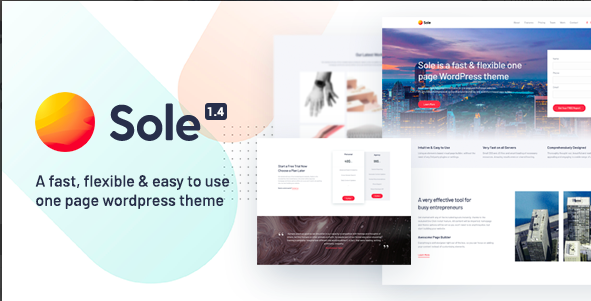 Sole wordpress one page theme