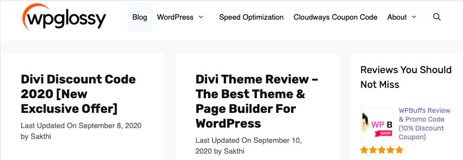 WPGlossy WordPress blog