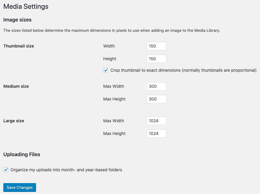 change default WordPress image size
