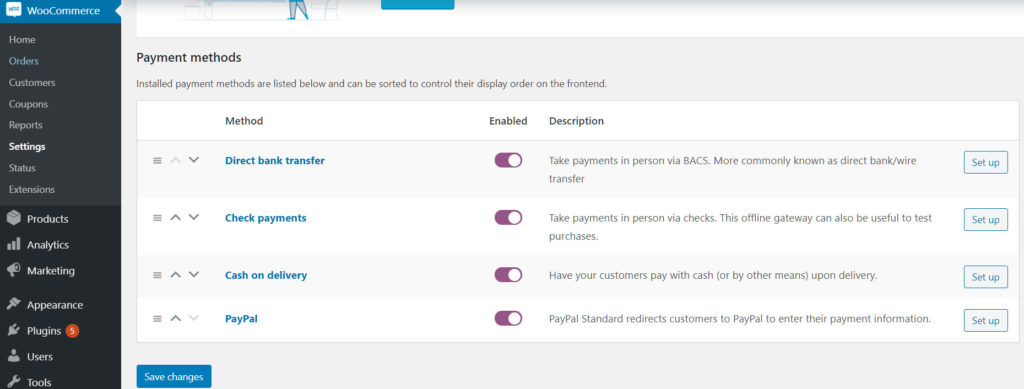 Default payment methods for WooCommerce