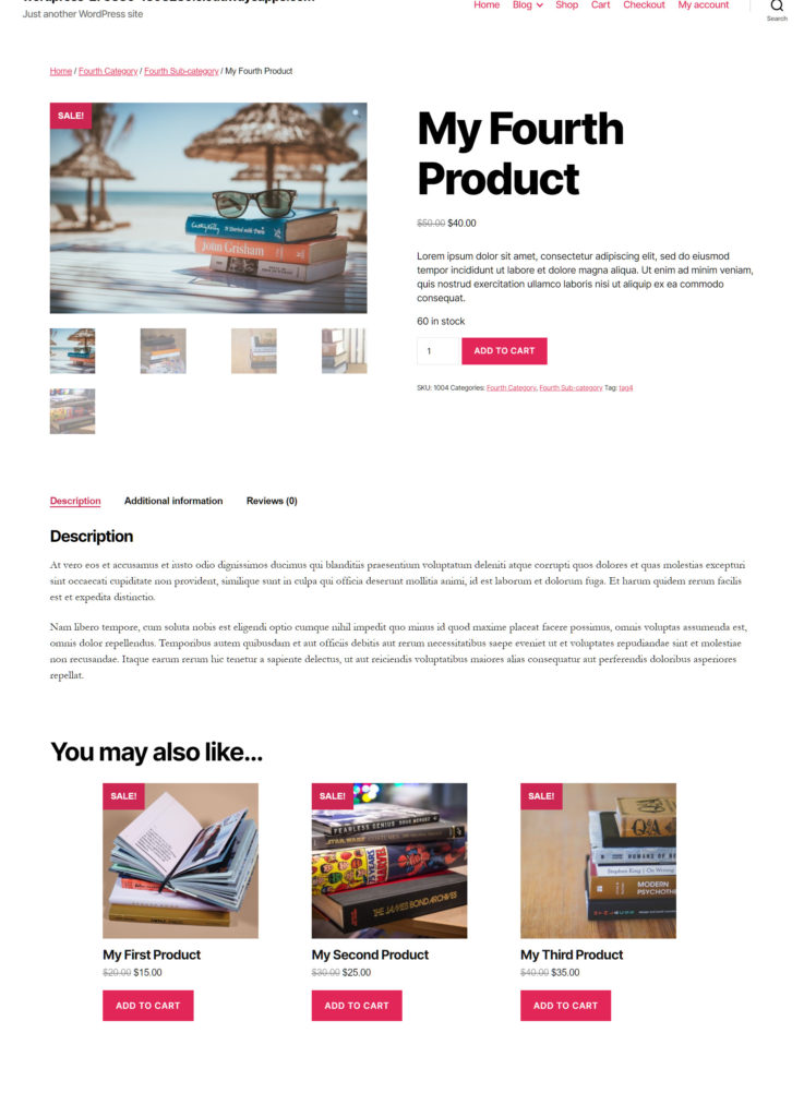 Example of a simple product page in WordPress 2020 theme.