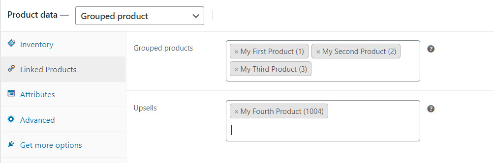 Grouped product settings in WooCommerce.