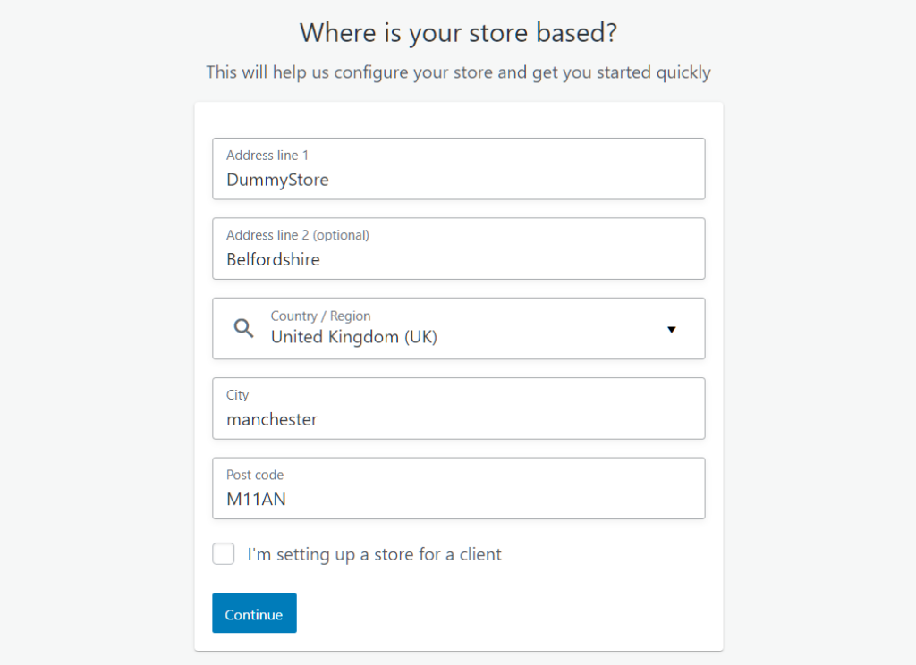 Enter your basic store details to get started on WooCommerce